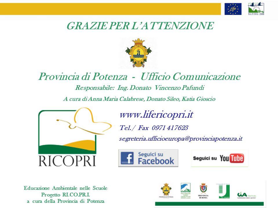 segreteria.ufficioeuropa@provinciapotenza.it Tel. / Fax 0971 417623 GRAZIE PER LATTENZIONE www.lifericopri.it Responsabile: Ing. Donato Vincenzo Pafun