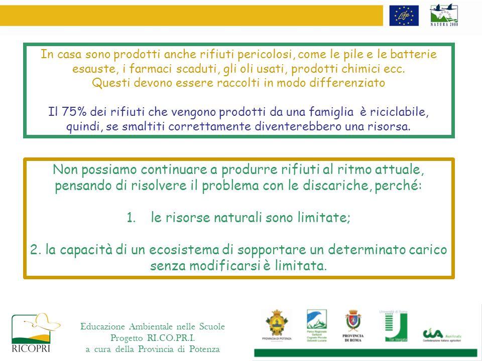 utilizzare processi produttivi meno inquinanti Educazione Ambientale nelle Scuole Progetto RI.CO.PR.I.