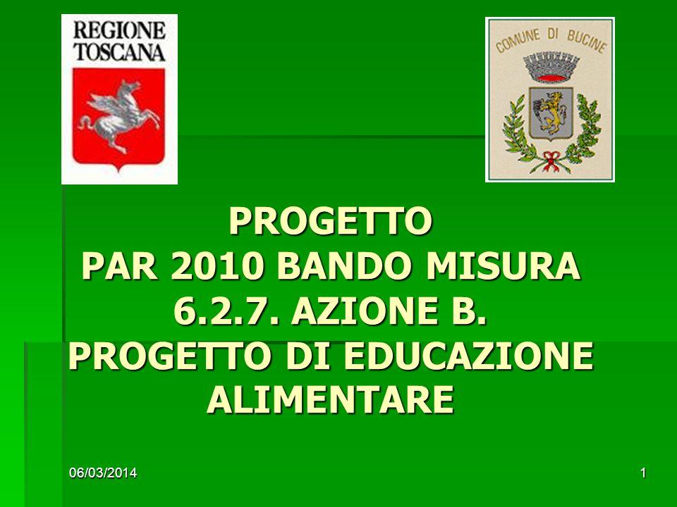 06/03/20141 PROGETTO PAR 2010 BANDO MISURA 6.2.7. AZIONE B. PROGETTO DI EDUCAZIONE ALIMENTARE