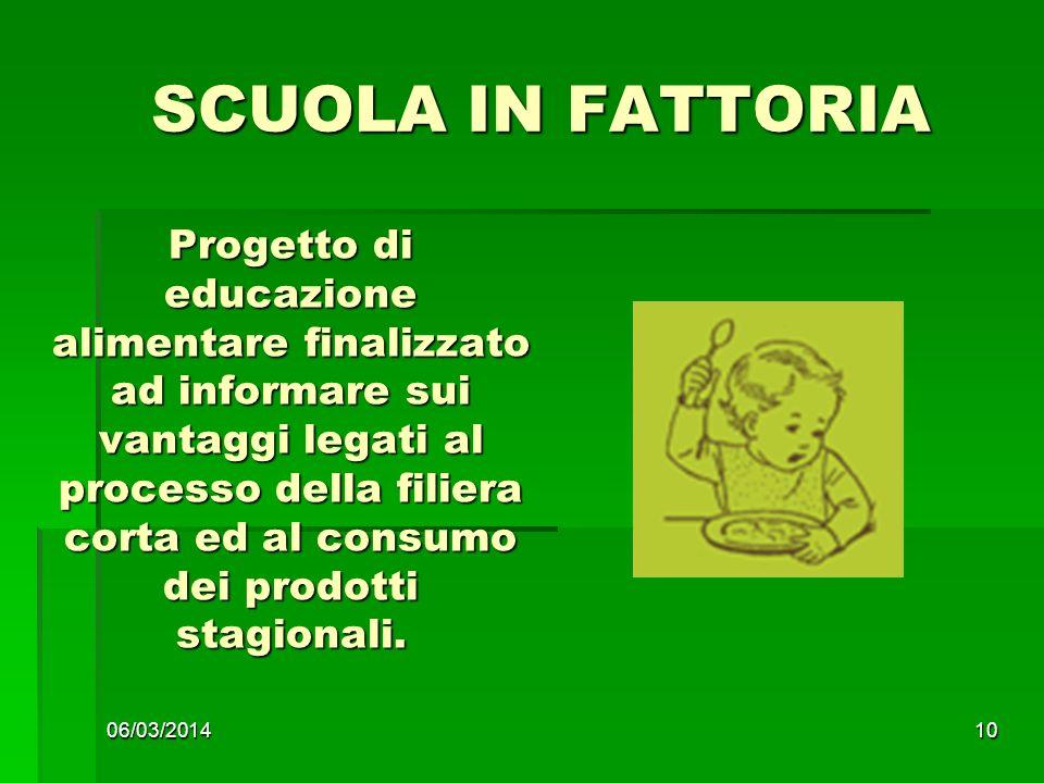 06/03/201410 SCUOLA IN FATTORIA SCUOLA IN FATTORIA Progetto di educazione alimentare finalizzato ad informare sui vantaggi legati al processo della filiera corta ed al consumo dei prodotti stagionali.