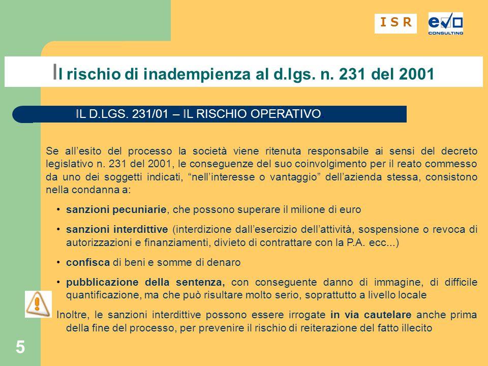 5 I l rischio di inadempienza al d.lgs.n. 231 del 2001 I S R IL D.LGS.