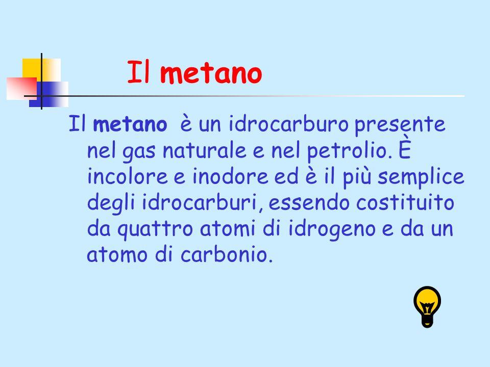 Il metano Il metano è un idrocarburo presente nel gas naturale e nel petrolio. È incolore e inodore ed è il più semplice degli idrocarburi, essendo co