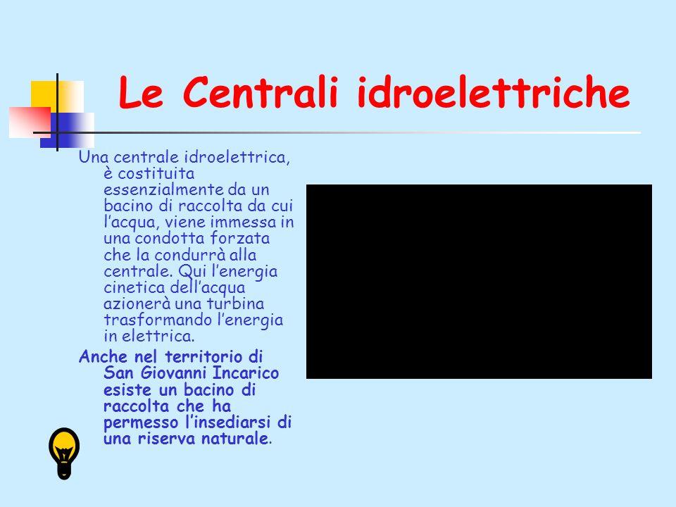 Le Centrali idroelettriche Una centrale idroelettrica, è costituita essenzialmente da un bacino di raccolta da cui lacqua, viene immessa in una condotta forzata che la condurrà alla centrale.