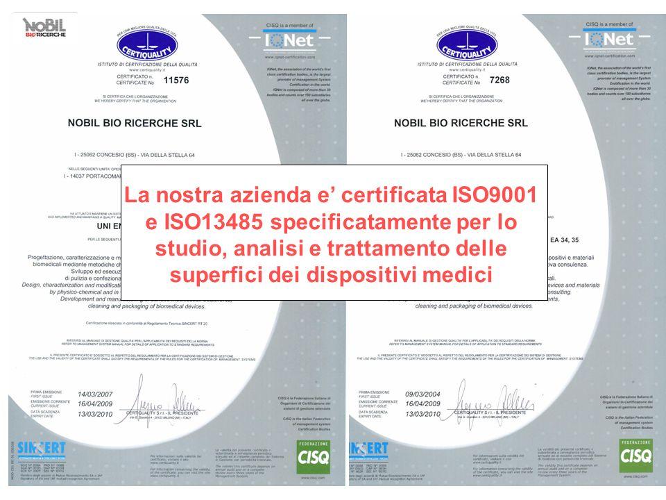La nostra azienda e certificata ISO9001 e ISO13485 specificatamente per lo studio, analisi e trattamento delle superfici dei dispositivi medici