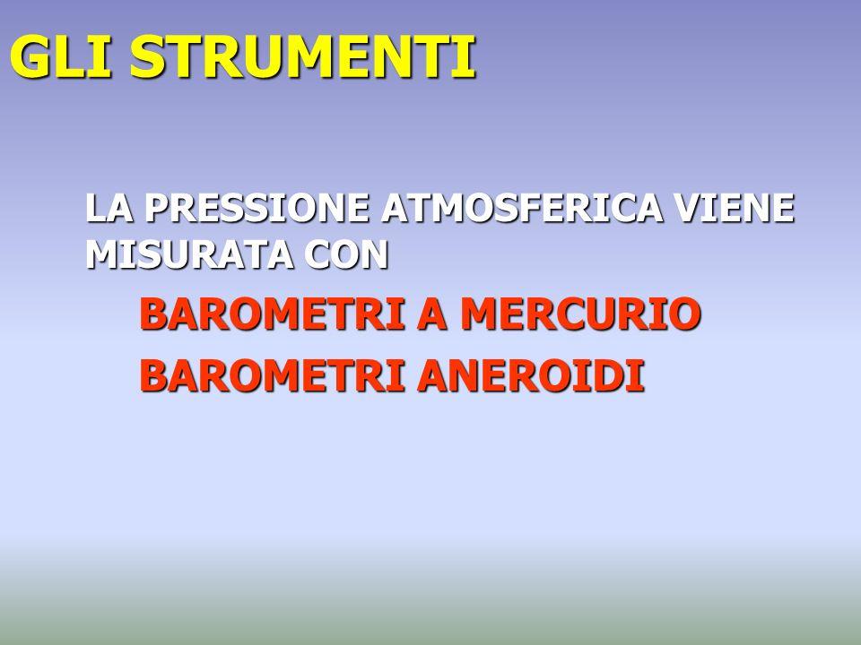 GLI STRUMENTI LA PRESSIONE ATMOSFERICA VIENE MISURATA CON BAROMETRI A MERCURIO BAROMETRI ANEROIDI