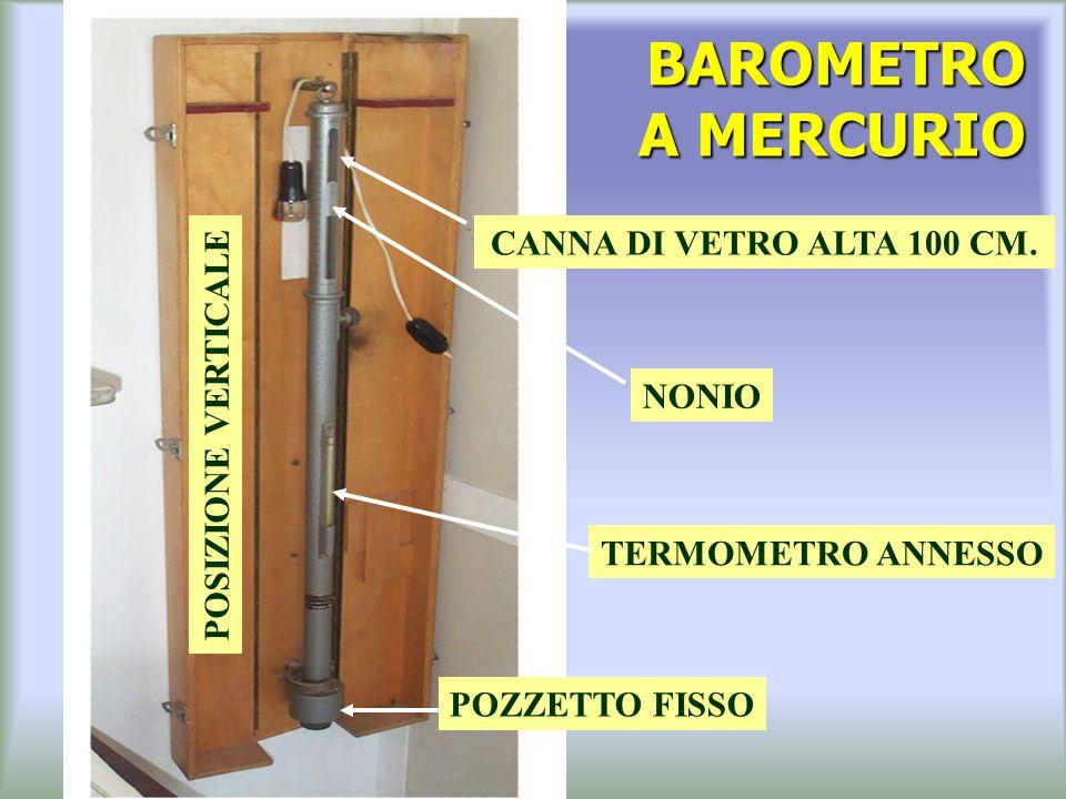 BAROMETRO A MERCURIO POZZETTO FISSO TERMOMETRO ANNESSO CANNA DI VETRO ALTA 100 CM.