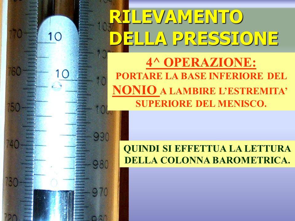 RILEVAMENTO DELLA PRESSIONE 4^ OPERAZIONE: PORTARE LA BASE INFERIORE DEL NONIO A LAMBIRE LESTREMITA SUPERIORE DEL MENISCO.