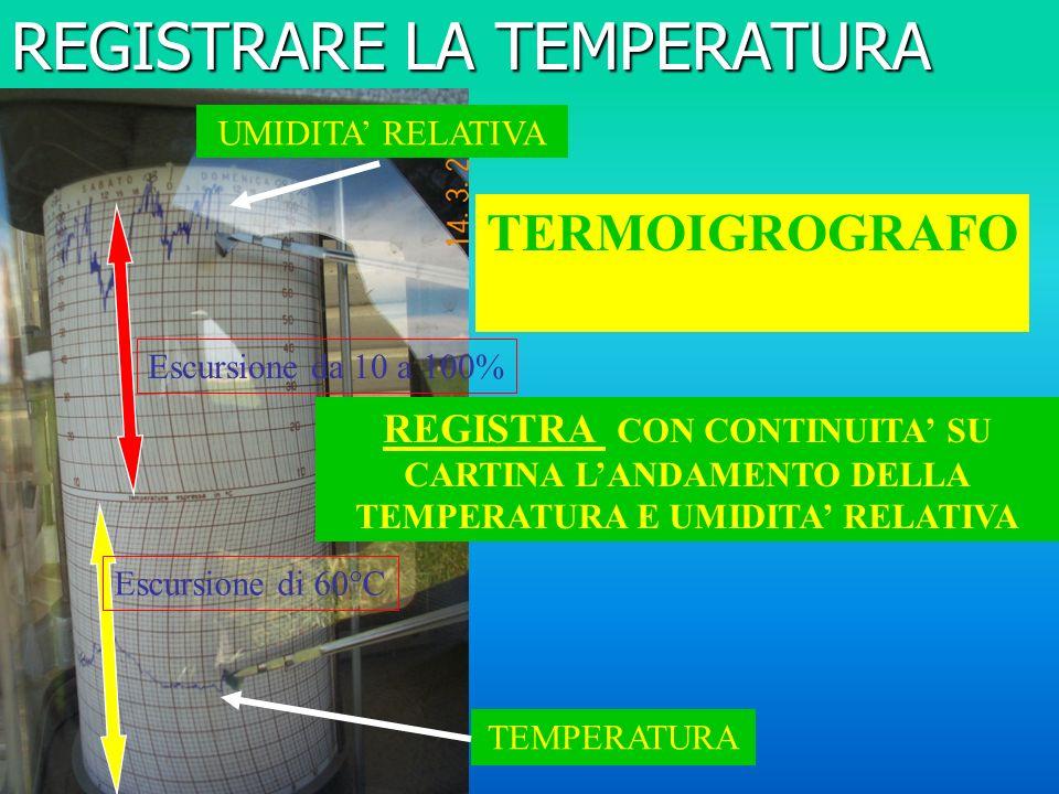 REGISTRARE LA TEMPERATURA TEMPERATURA UMIDITA RELATIVA REGISTRA CON CONTINUITA SU CARTINA LANDAMENTO DELLA TEMPERATURA E UMIDITA RELATIVA TERMOIGROGRAFO Escursione di 60°C Escursione da 10 a 100%