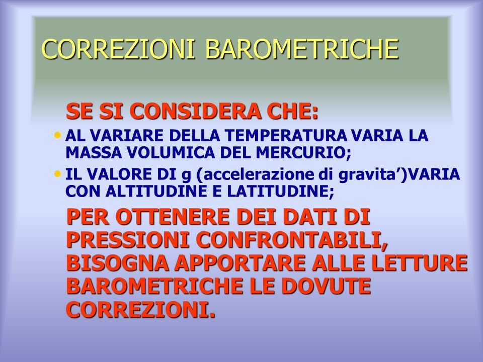 CORREZIONI BAROMETRICHE SE SI CONSIDERA CHE: SE SI CONSIDERA CHE: AL VARIARE DELLA TEMPERATURA VARIA LA MASSA VOLUMICA DEL MERCURIO; IL VALORE DI g (accelerazione di gravita)VARIA CON ALTITUDINE E LATITUDINE; PER OTTENERE DEI DATI DI PRESSIONI CONFRONTABILI, BISOGNA APPORTARE ALLE LETTURE BAROMETRICHE LE DOVUTE CORREZIONI.