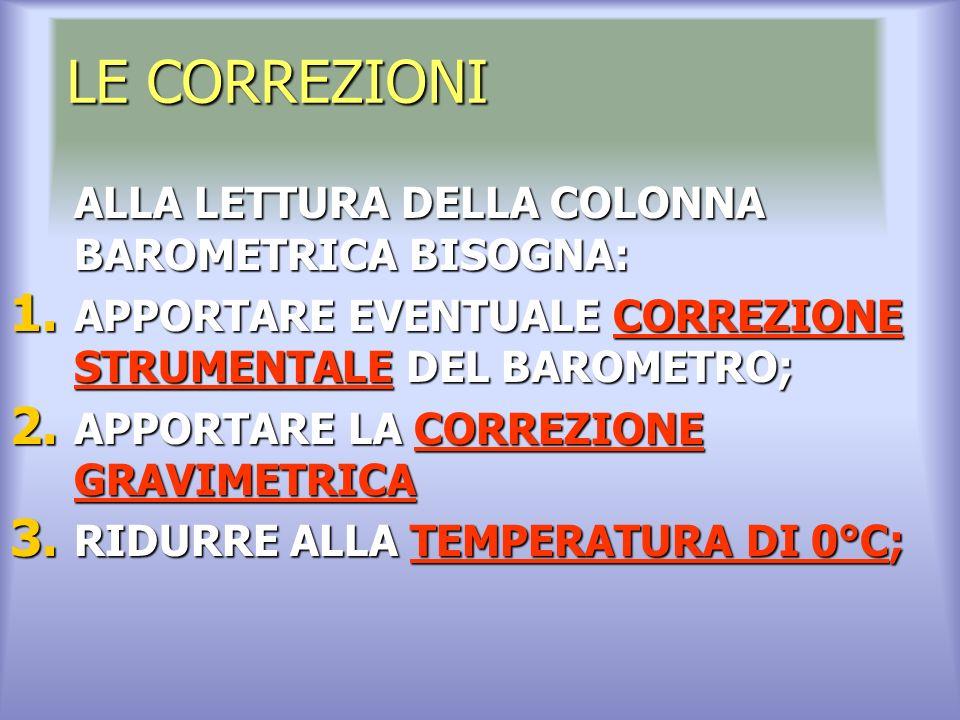LE CORREZIONI ALLA LETTURA DELLA COLONNA BAROMETRICA BISOGNA: 1.