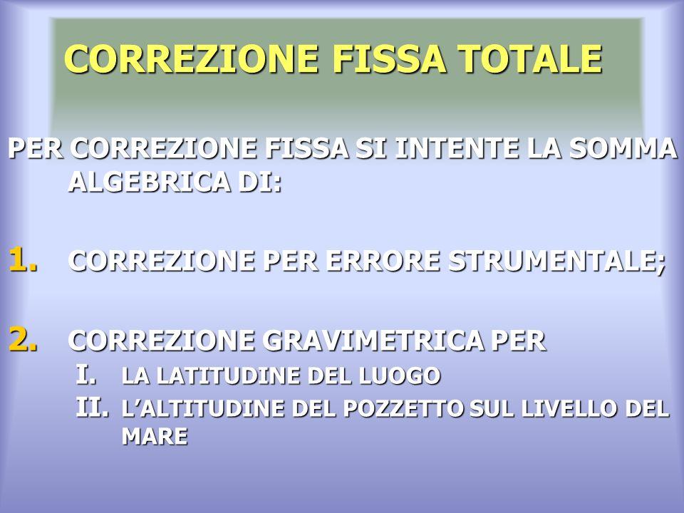 CORREZIONE FISSA TOTALE PER CORREZIONE FISSA SI INTENTE LA SOMMA ALGEBRICA DI: 1.
