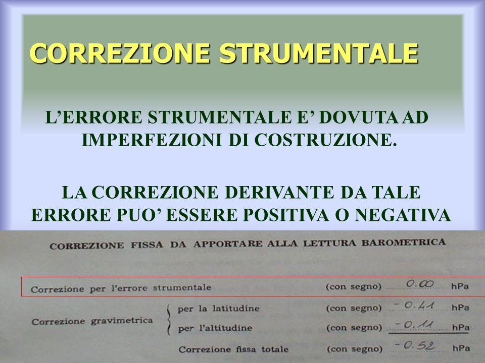 CORREZIONE STRUMENTALE LERRORE STRUMENTALE E DOVUTA AD IMPERFEZIONI DI COSTRUZIONE.