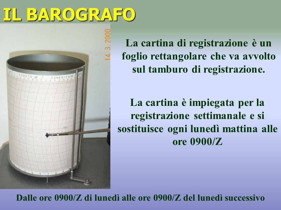 IL BAROGRAFO La cartina di registrazione è un foglio rettangolare che va avvolto sul tamburo di registrazione.