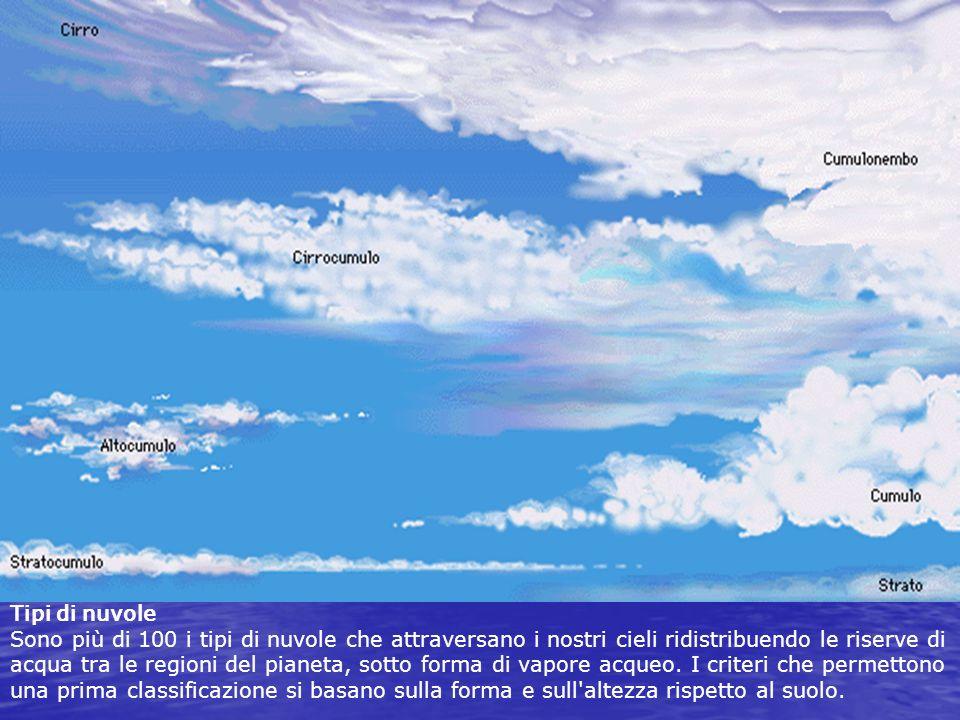 Tipi di nuvole Sono più di 100 i tipi di nuvole che attraversano i nostri cieli ridistribuendo le riserve di acqua tra le regioni del pianeta, sotto forma di vapore acqueo.