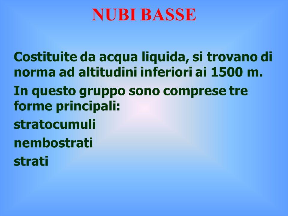 Costituite da acqua liquida, si trovano di norma ad altitudini inferiori ai 1500 m.
