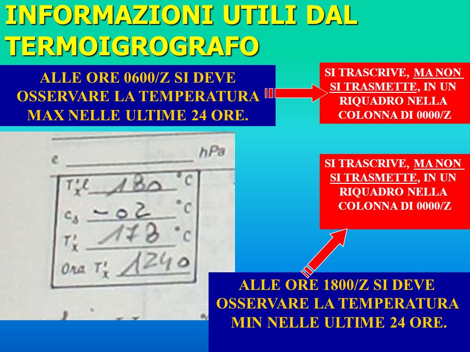 INFORMAZIONI UTILI DAL TERMOIGROGRAFO ALLE ORE 0600/Z SI DEVE OSSERVARE LA TEMPERATURA MAX NELLE ULTIME 24 ORE.