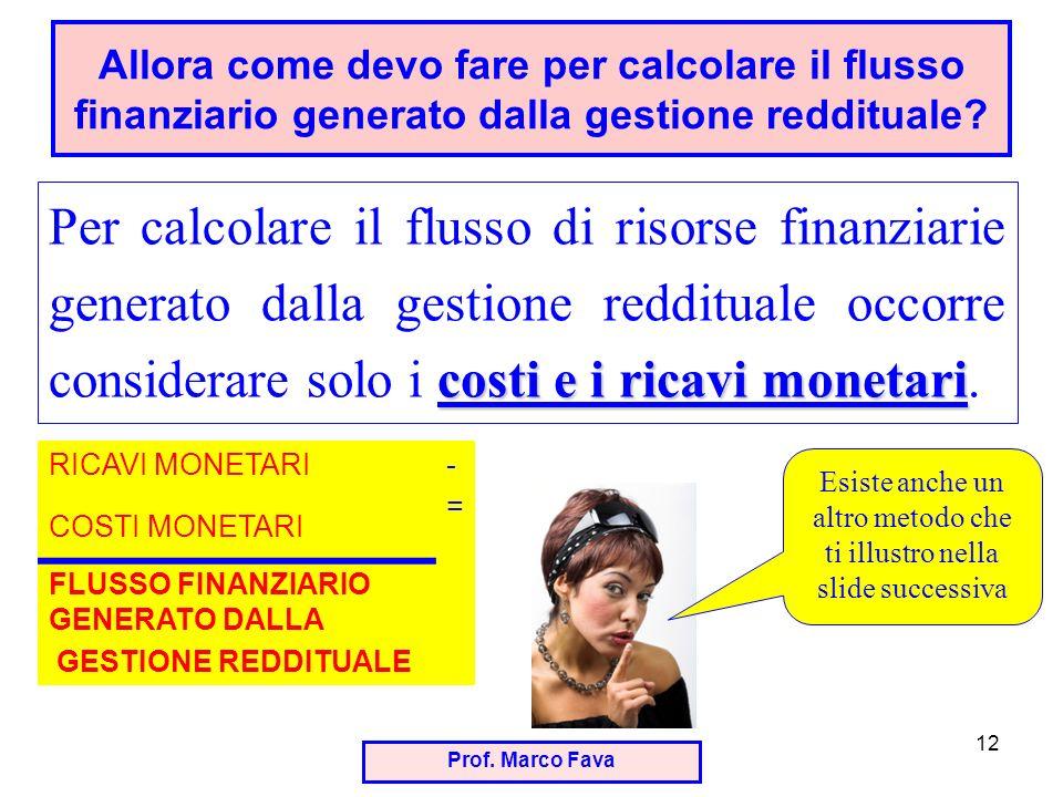 Prof. Marco Fava 12 costi e i ricavi monetari Per calcolare il flusso di risorse finanziarie generato dalla gestione reddituale occorre considerare so