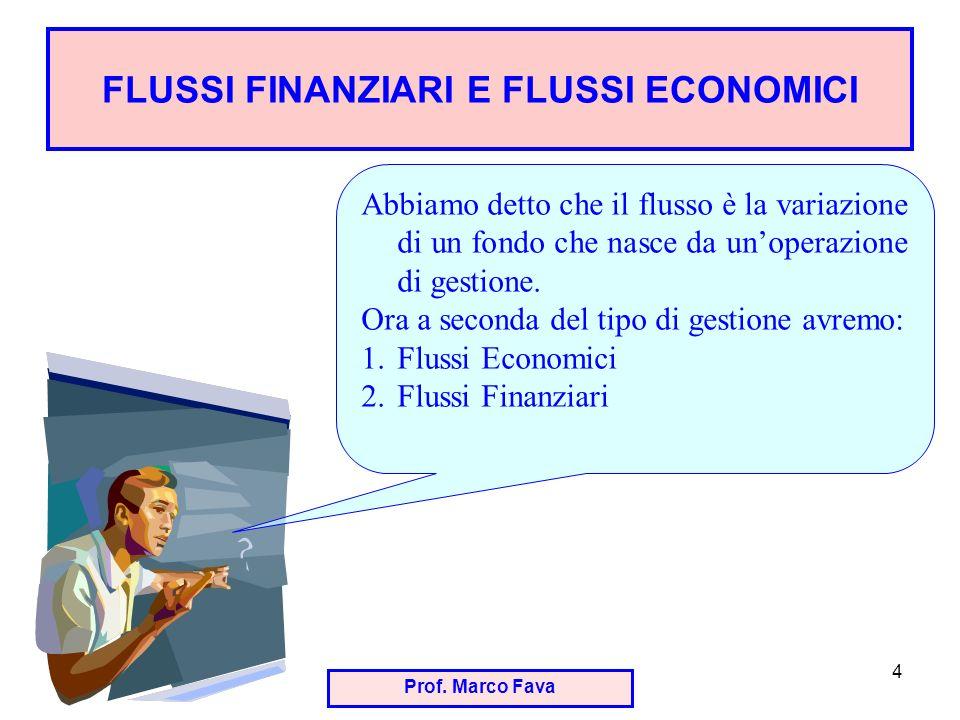 Prof. Marco Fava 4 FLUSSI FINANZIARI E FLUSSI ECONOMICI Abbiamo detto che il flusso è la variazione di un fondo che nasce da unoperazione di gestione.