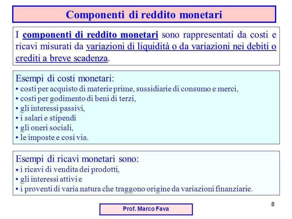 Prof. Marco Fava 8 Componenti di reddito monetari componenti di reddito monetari variazioni di liquidità o da variazioni nei debiti o crediti a breve