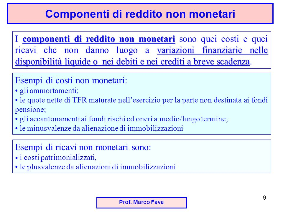 Prof. Marco Fava 9 Componenti di reddito non monetari componenti di reddito non monetari variazioni finanziarie nelle disponibilità liquide o nei debi