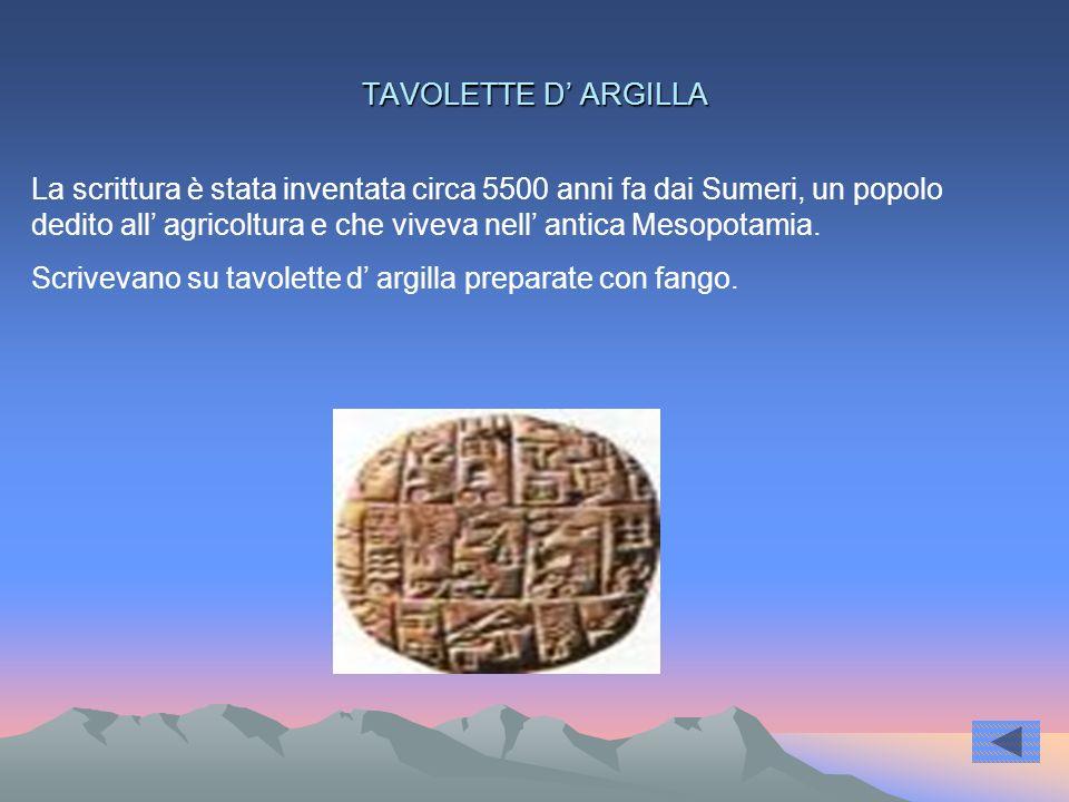 FOGLI DI PAPIRO Subito dopo i Sumeri, anche gli Egizi svilupparono la loro scrittura.