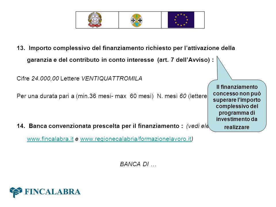 13. Importo complessivo del finanziamento richiesto per lattivazione della garanzia e del contributo in conto interesse (art. 7 dellAvviso) : Cifre 24