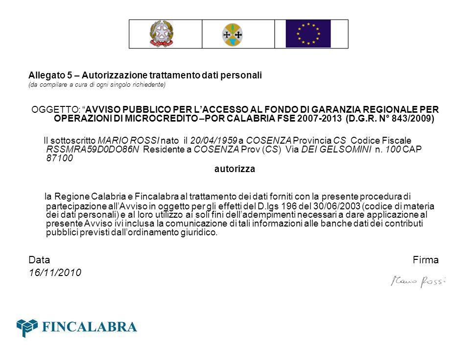 Allegato 5 – Autorizzazione trattamento dati personali (da compilare a cura di ogni singolo richiedente) OGGETTO: AVVISO PUBBLICO PER LACCESSO AL FOND