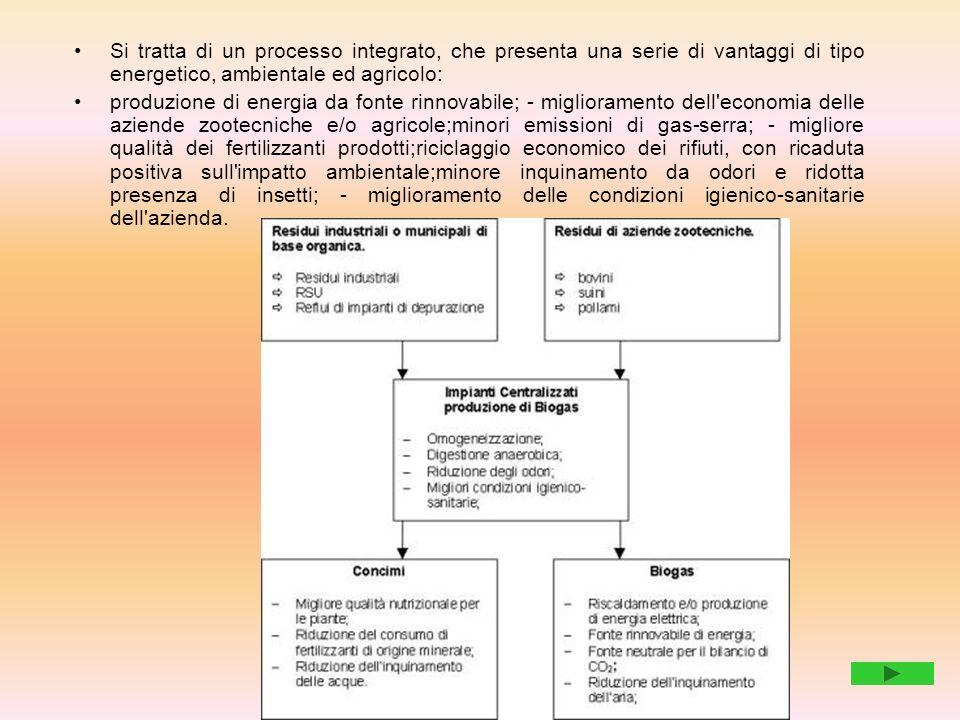 Si tratta di un processo integrato, che presenta una serie di vantaggi di tipo energetico, ambientale ed agricolo: produzione di energia da fonte rinn
