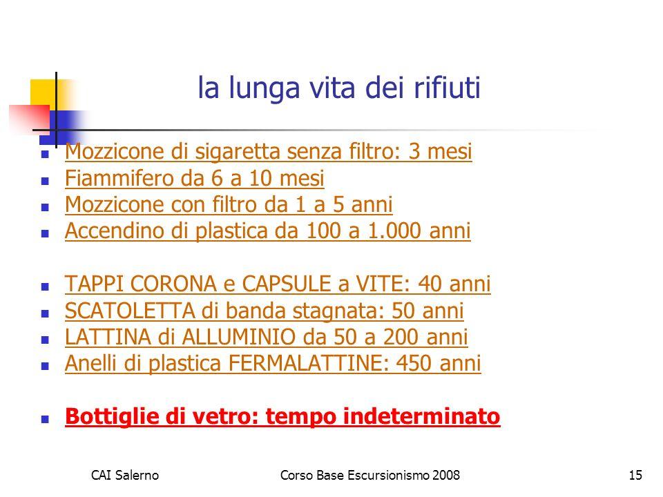 CAI SalernoCorso Base Escursionismo 200815 la lunga vita dei rifiuti Mozzicone di sigaretta senza filtro: 3 mesi Fiammifero da 6 a 10 mesi Mozzicone con filtro da 1 a 5 anni Accendino di plastica da 100 a 1.000 anni TAPPI CORONA e CAPSULE a VITE: 40 anni SCATOLETTA di banda stagnata: 50 anni LATTINA di ALLUMINIO da 50 a 200 anni Anelli di plastica FERMALATTINE: 450 anni Bottiglie di vetro: tempo indeterminato