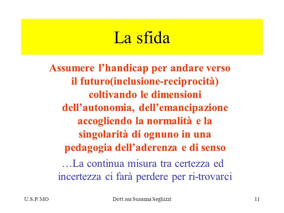 U.S.P. MODott.ssa Susanna Seghizzi11 La sfida Assumere lhandicap per andare verso il futuro(inclusione-reciprocità) coltivando le dimensioni dellauton