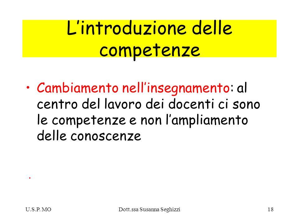 U.S.P. MODott.ssa Susanna Seghizzi18 Lintroduzione delle competenze Cambiamento nellinsegnamento: al centro del lavoro dei docenti ci sono le competen