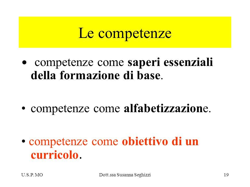 U.S.P. MODott.ssa Susanna Seghizzi19 Le competenze competenze come saperi essenziali della formazione di base. competenze come alfabetizzazione. compe
