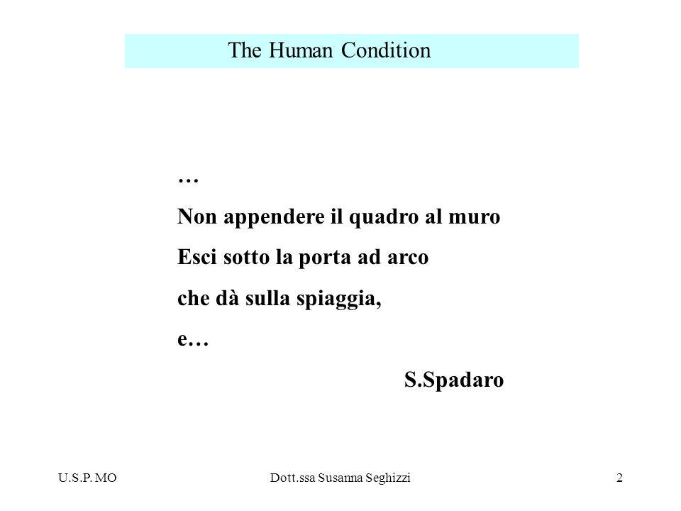 U.S.P. MODott.ssa Susanna Seghizzi2 The Human Condition … Non appendere il quadro al muro Esci sotto la porta ad arco che dà sulla spiaggia, e… S.Spad