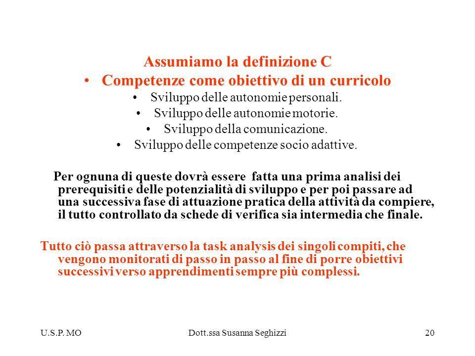 U.S.P. MODott.ssa Susanna Seghizzi20 Assumiamo la definizione C Competenze come obiettivo di un curricolo Sviluppo delle autonomie personali. Sviluppo