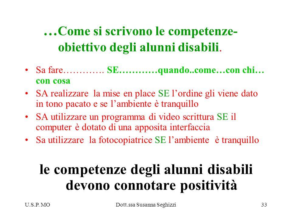 U.S.P. MODott.ssa Susanna Seghizzi33 … Come si scrivono le competenze- obiettivo degli alunni disabili. Sa fare…………. SE…………quando..come…con chi… con c