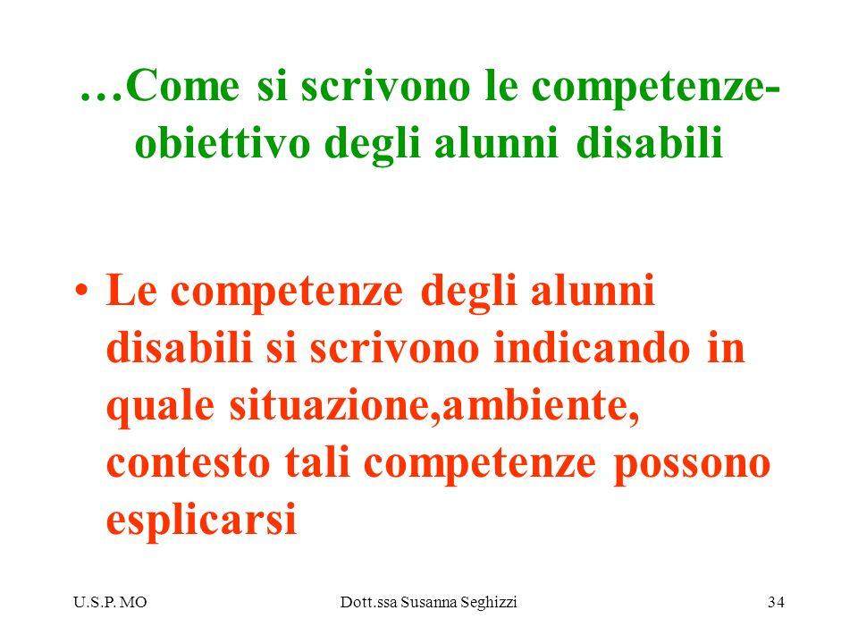 U.S.P. MODott.ssa Susanna Seghizzi34 …Come si scrivono le competenze- obiettivo degli alunni disabili Le competenze degli alunni disabili si scrivono