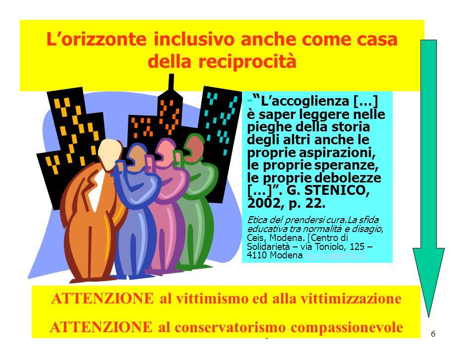 U.S.P. MODott.ssa Susanna Seghizzi6 Lorizzonte inclusivo anche come casa della reciprocità - Laccoglienza […] è saper leggere nelle pieghe della stori