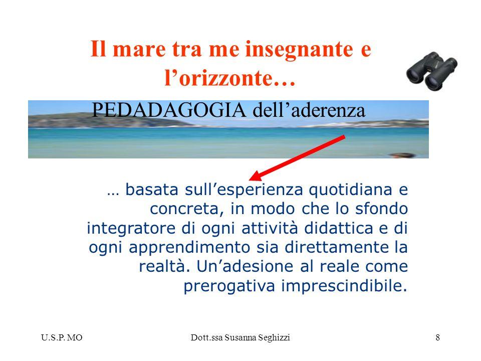 U.S.P. MODott.ssa Susanna Seghizzi8 Il mare tra me insegnante e lorizzonte… … basata sullesperienza quotidiana e concreta, in modo che lo sfondo integ