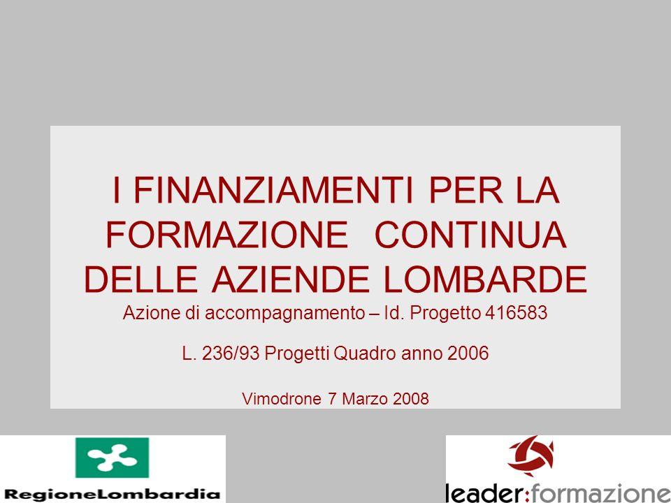 I FINANZIAMENTI PER LA FORMAZIONE CONTINUA DELLE AZIENDE LOMBARDE Azione di accompagnamento – Id. Progetto 416583 L. 236/93 Progetti Quadro anno 2006