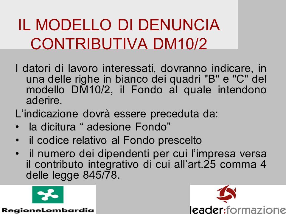 IL MODELLO DI DENUNCIA CONTRIBUTIVA DM10/2 I datori di lavoro interessati, dovranno indicare, in una delle righe in bianco dei quadri