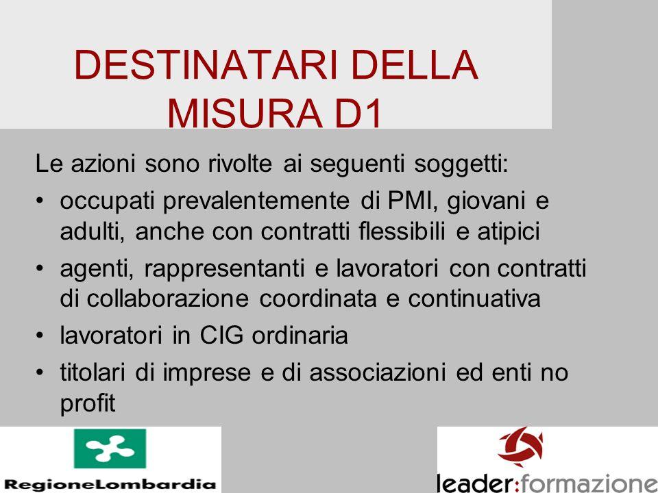 DESTINATARI DELLA MISURA D1 Le azioni sono rivolte ai seguenti soggetti: occupati prevalentemente di PMI, giovani e adulti, anche con contratti flessi