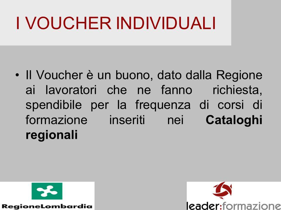I VOUCHER INDIVIDUALI Il Voucher è un buono, dato dalla Regione ai lavoratori che ne fanno richiesta, spendibile per la frequenza di corsi di formazio
