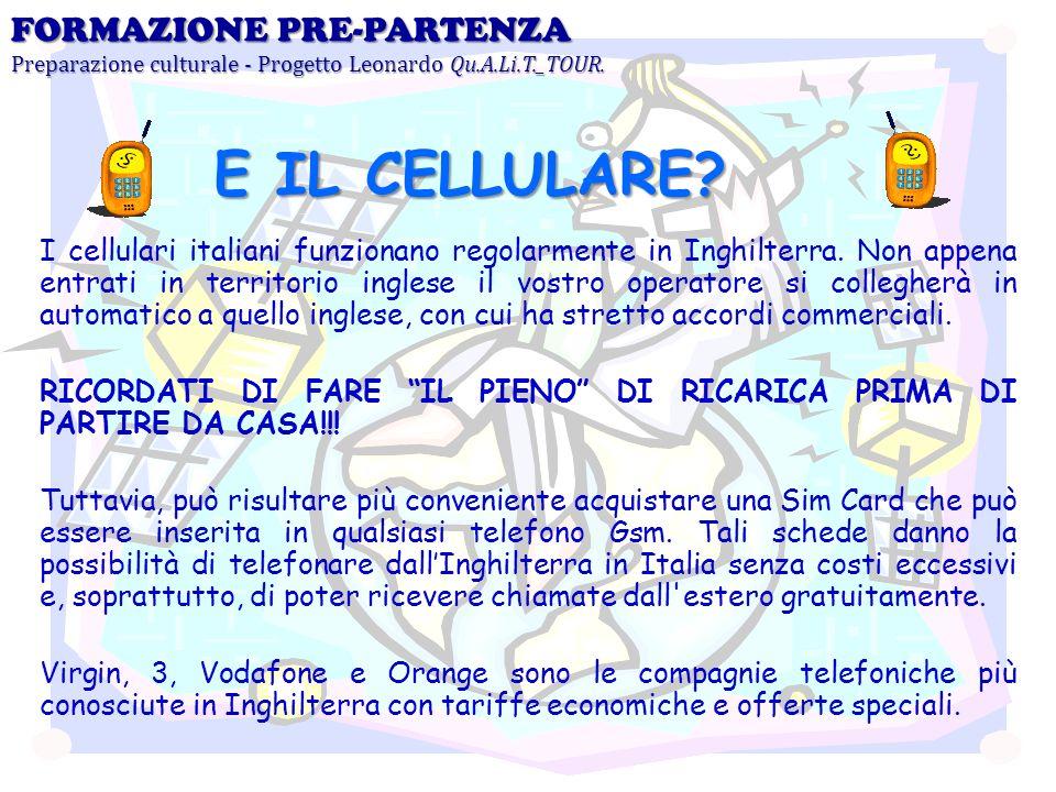 I cellulari italiani funzionano regolarmente in Inghilterra. Non appena entrati in territorio inglese il vostro operatore si collegherà in automatico