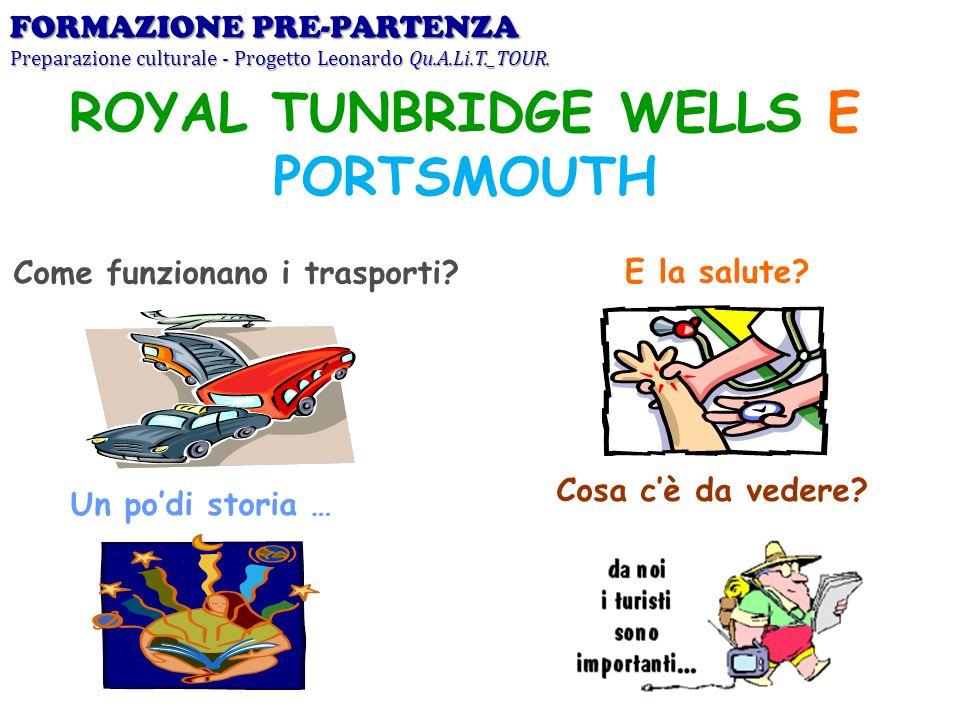 Come funzionano i trasporti?E la salute? Un podi storia … Cosa cè da vedere? ROYAL TUNBRIDGE WELLS E PORTSMOUTH FORMAZIONE PRE-PARTENZA Preparazione c