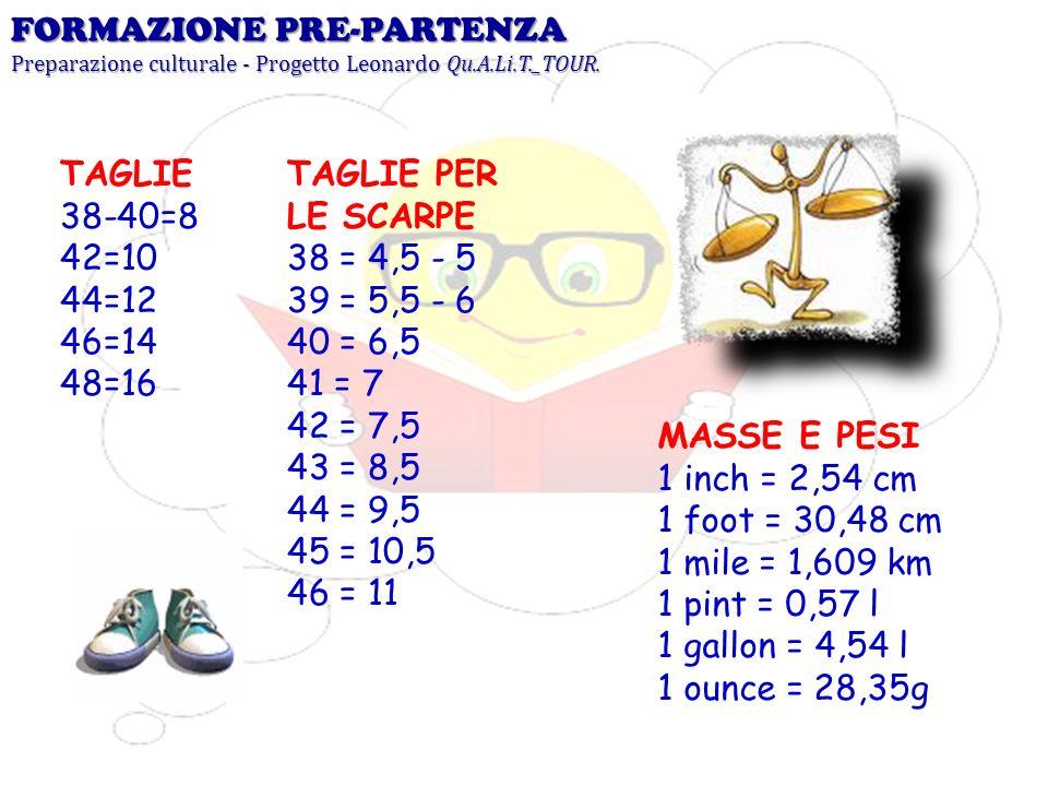 FORMAZIONE PRE-PARTENZA Preparazione culturale - Progetto Leonardo Qu.A.Li.T._TOUR. TAGLIE 38-40=8 42=10 44=12 46=14 48=16 TAGLIE PER LE SCARPE 38 = 4