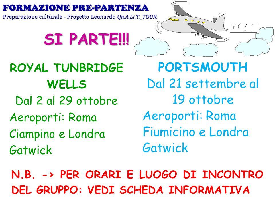 ROYAL TUNBRIDGE WELLS Dal 2 al 29 ottobre Aeroporti: Roma Ciampino e Londra Gatwick FORMAZIONE PRE-PARTENZA Preparazione culturale - Progetto Leonardo