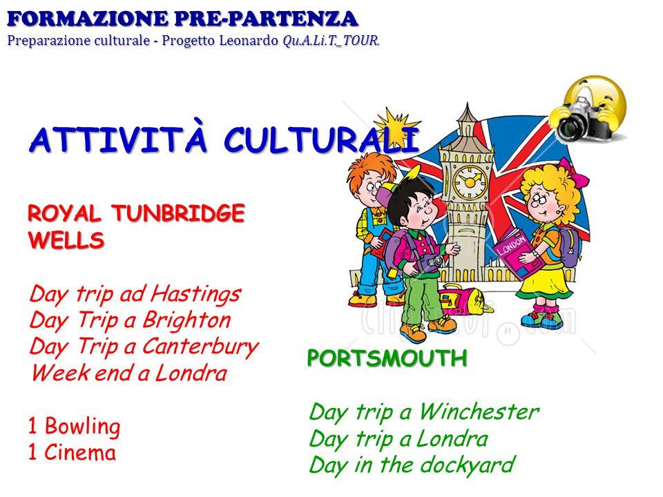 FORMAZIONE PRE-PARTENZA Preparazione culturale - Progetto Leonardo Qu.A.Li.T._TOUR. ROYAL TUNBRIDGE WELLS Day trip ad Hastings Day Trip a Brighton Day