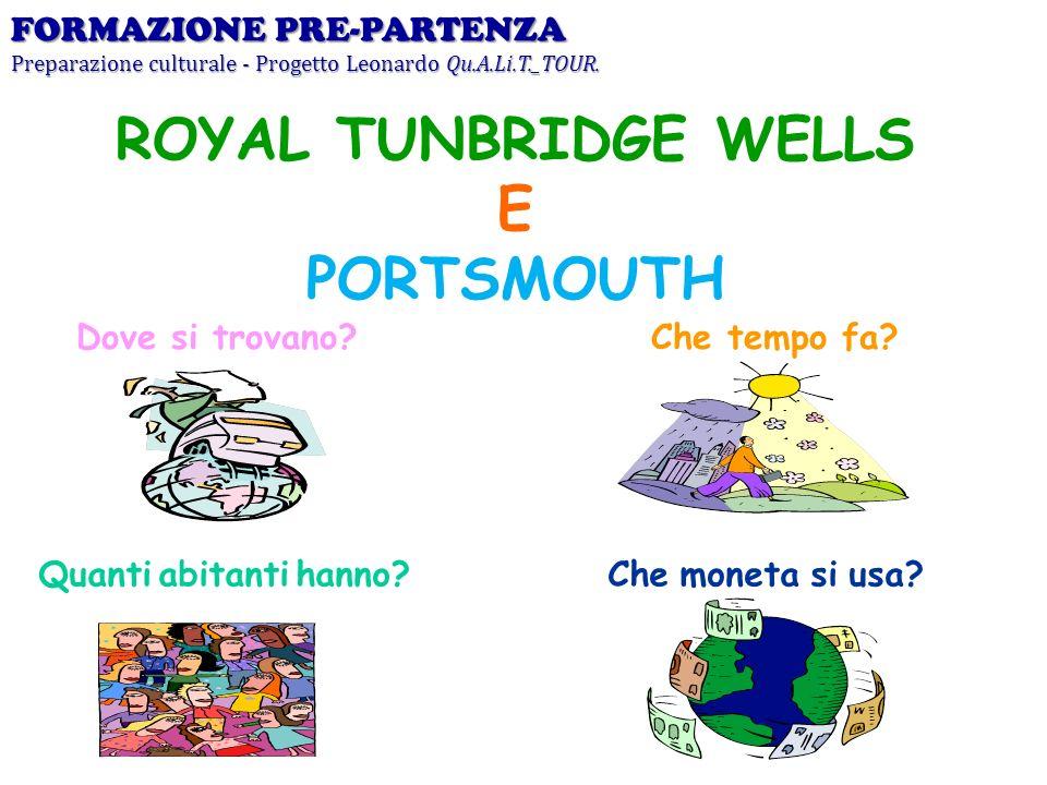 Dove si trovano? ROYAL TUNBRIDGE WELLS E PORTSMOUTH Che tempo fa? Quanti abitanti hanno?Che moneta si usa? FORMAZIONE PRE-PARTENZA Preparazione cultur