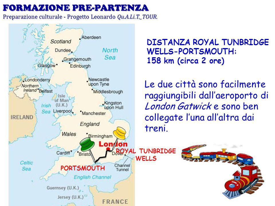 PORTSMOUTH ROYAL TUNBRIDGE WELLS DISTANZA ROYAL TUNBRIDGE WELLS-PORTSMOUTH: 158 km (circa 2 ore) Le due città sono facilmente raggiungibili dallaeropo