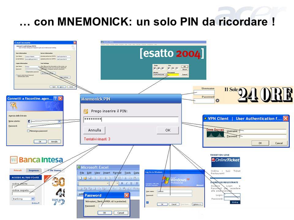 Ottobre 2006 – Pag. 8 … con MNEMONICK: un solo PIN da ricordare !